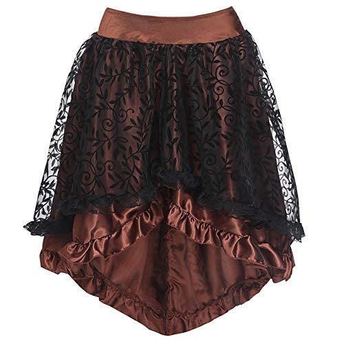 Für Plus Kostüm Erwachsene Flapper - OverDose Damen Frauen Spitze Asymmetrisch High Low Steampunk Rock Gothic Floral Spitze Hohe Taille Gothic Neuheit Korsett High Plus Rock Für Party Club