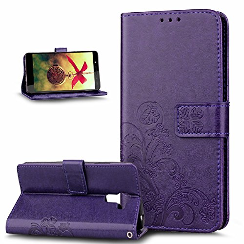 Coque Huawei Honor 7,Etui Huawei Honor 7,Gaufrage Trèfle Fleur Floral Motif Housse Cuir PU Housse Etui Coque Portefeuille Protection supporter Flip Case Etui Housse Coque pour Huawei Honor 7,Violet