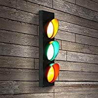 LED Warning Red Green Wall lamp - Creative Traffic Signals Signs Lights iron Decorative wall light (With remote control)