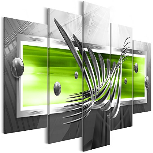 decomonkey Bilder Abstrakt 225x112.5 cm XXL 5 Teilig Leinwandbilder Bild auf Leinwand Vlies Wandbild Kunstdruck Wanddeko Wand Wohnzimmer Wanddekoration Deko 3D grün grau