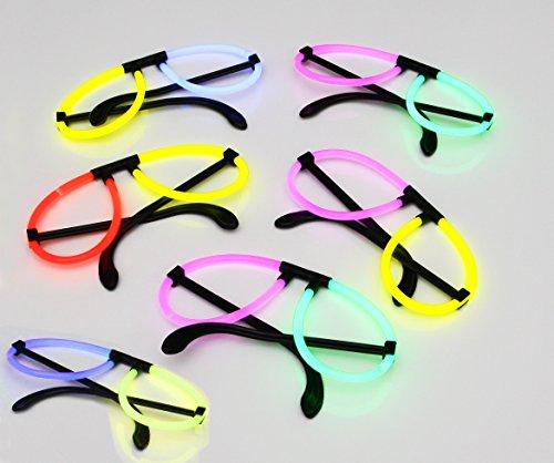 12 leuchtende Knicklicht-Brillen inkl. 24 Arm-Knicklichtern KNIXS im Farbmix | geprüfte Markenqualität