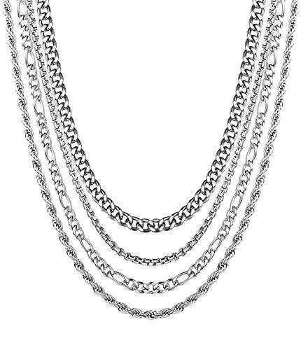 BE STEEL 4 Stück Edelstahl Halsketten Set für Herren Damen Kette Kandare Rolo Figaro Seil Halskette, Breite 2-3,5 MM Länge 41-51 CM