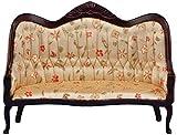 Classics Casa de muñecas Victoriano sofá, Caoba con florales Tela