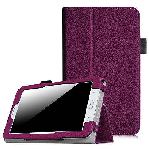 [Eckenschutz] Fintie Samsung Galaxy Tab 3 7.0 Lite T110 T111 T113 T116 Hülle Case - Slim Fit Folio Bookstyle Kunstleder Schutzhülle Cover Tasche mit Ständerfunktion für Tab 3 Lite 7.0 Zoll Tablet, Lila