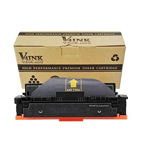 v4ink 1 Paquete Compatible Cartucho de tóner HP 410X CF410X para HP Color Laserjet Pro M477FDN MFP M477FDW MFP M477FNW HP Color Laserjet Pro M452DN M452NW M452DW - (Negro, 6500 Copias)