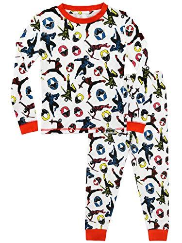Power Ranger Pijamas para Niños Ajuste Ceñido Ninja Steel Blanco 8-9 Años