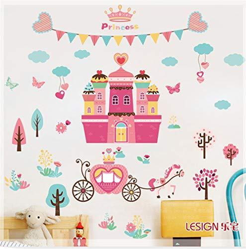 BKLKBL wandaufkleber kinderzimmer Schlafzimmer Hintergrund Dekoration Prinzessin Schloss Aufkleber abnehmbare Boden Layout wandaufkleber (Schloss Prinzessin Dekoration)