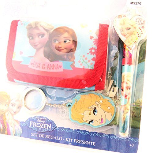 Set Regalo Portafoglio Portamonete Penna Portachiavi Disney Frozen Anna Elsa