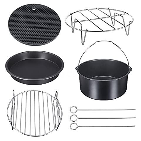 Universal Air Fryer Accessories for Power Gowise Phillips Cozyna and More, Set of 5 Optimal Bakeware Kit Fit all 3 - 5 QT, Diameter 7