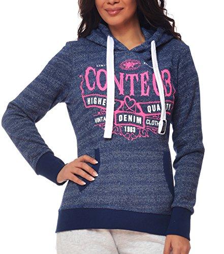 M.Conte Women Sweat-Shirt hooded Felpa da Donna con Cappuccio Modello Rihana marina blu S