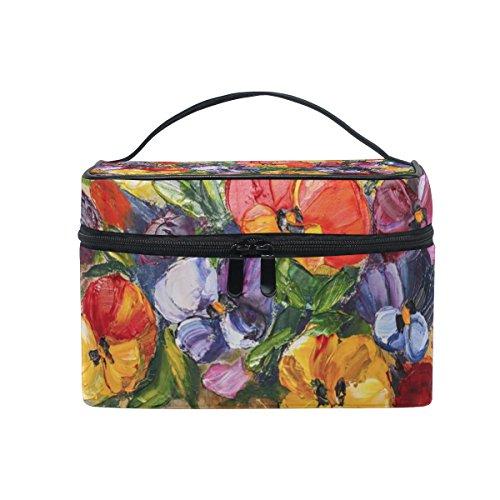 ALAZA Cosmétique Sac floral Peinture à l'huile de maquillage Fleurs de printemps Voyage cas de stockage Organisateur