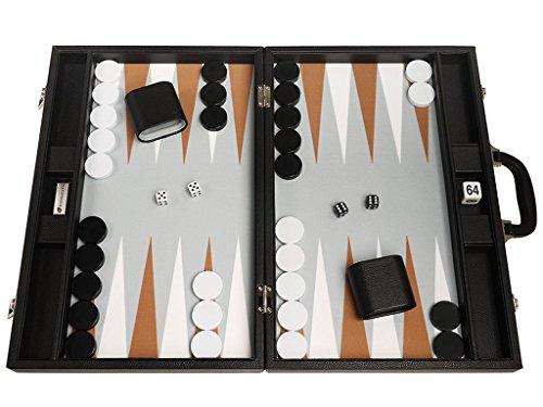 48 x 64 cm Premium-Backgammon-Set - Schwarzes Brett mit Weiß- und Rumpunkten