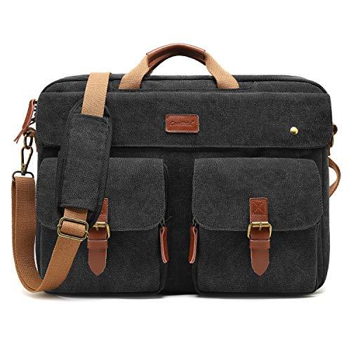 CoolBELL umwandelbar Messenger Bag Rucksack Herren Umhängetasche 17.3 Inch Laptop Tasche Business Aktentasche Multifunktions Reise Rucksack Notebook Schultertasche Passend für 17 - 17,3 Zoll Laptop( Canvas Schwarz)