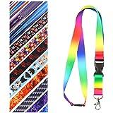 Multicolore-Cordon tour de cou pour porte-badges avec clip en métal (arc en ciel)