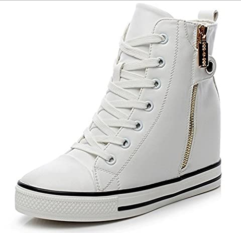Padgene Baskets Mode Compensées Montante Sneakers Tennis Chaussures Casuel PU