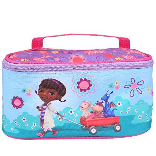 Beauty case bambina dottoressa peluche - borsa da toilette e da viaggio rettangolare con impugnatura superiore - porta tutto per accessori bagno e giochi - azzurro rosa - 21x11x10cm - perletti
