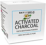 Sbiancamento Denti Con CARBONE ATTIVO 100% Naturale | Premium Coconut Active Carbon 100% Natural | Effective Teeth Whitening Powder | Senza Prodotti Chimici e Additivi Sintetici | Denti Bianchi | RAY OF SMILE Premium Line immagine