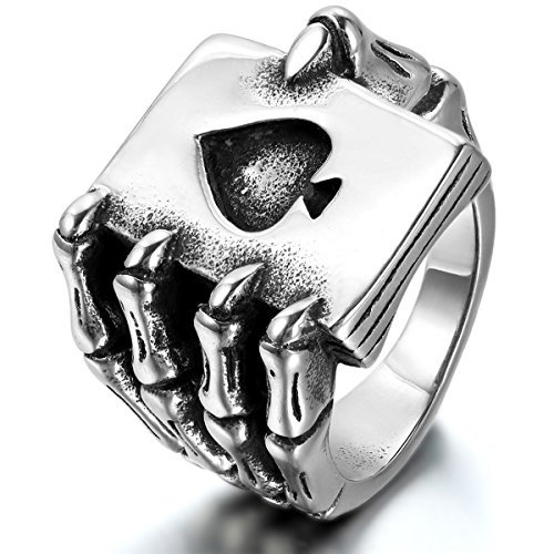JewelryWe Mens Stainless Steel Ring, Gothic Skull Hand Claw Poker Playing Card, Black Silver (Size T)