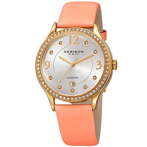 Akribos XXIV Mujer de Cuarzo Diamante y Swarovski Crystal tono dorado y rosa correa de piel reloj–ak1011pk