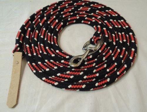 Bodenleine schwarz-rot-natur 6,70 Meter Baumwolle Boltsnap silber + Leder dunkel -