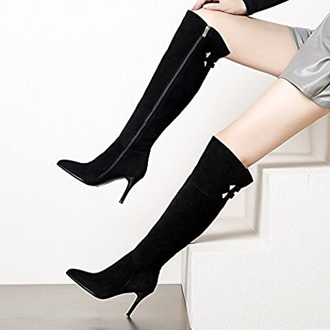 Elija la multa con remaches botas largas de cuero zip con ultra-alta señoras boot , ovejas negras anti-,35 sin