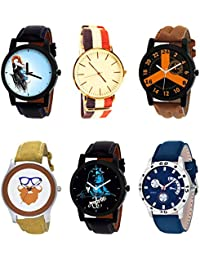 NIKOLA New Chronograph Mahadev Beard Style Black Blue And Brown Color 6 Watch Combo (B22-B50-B16-B54-B23-B56)...