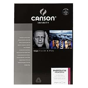 Canson InFinity PhotoSatin Premium RC Papier Photo 25 Feuilles 270g A3 Extra Blanc