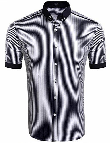 Original Herren Kurzarm Hemd mehrere Farben zur Auswahl Hemd Herren kariert Karo-Hemd Flanellhemd Freizeithemd Kurzarm Weiss und blau ()