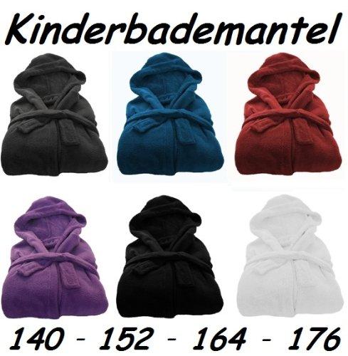 Kinder Bademantel Microfaser Kuschel Fleece Gr.: 164 Schwarz