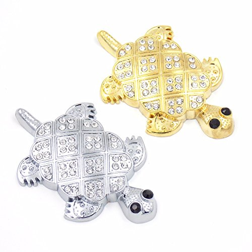 SPA Silver : Rhinestone Decorated 3D Tortoise Shape Metal Car Stickers Gold / Silver with 3M double faced adhesive tape