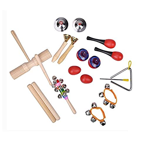 TSLIKANDO(TM) Musical Instruments Rhythm Toys Set for kids-Percussion & Rhythm Maracas Band Play Musical Toys for Baby Children & Toddlers - Set of 10 Kinds