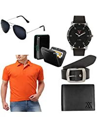 Lime Offers Combo Of Men's T Shirts Sunglasses Watch Wallet Belt And Cardholder