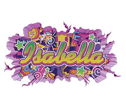 Schlafzimmer Von Isabella (3D Wandtattoo Graffiti Isabella Mädchen Name Wand Aufkleber Wanddurchbruch Girl sticker Wandbild Kinderzimmer 11U116, Wandbild Größe F:ca. 97cmx57cm)