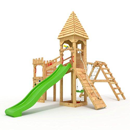 """Spielturm - Ritterburg \""""XL\"""" - 3m Rutsche, 2x Türme, 1.50 und 1.20m Podesthöhen, Brücke, Rutsche, Kletterwand und Sandkasten, verschiedene Farben geschlossen (Spitz) grüne Rutsche/Schaukel"""
