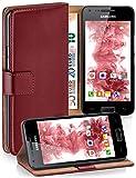 moex Samsung Galaxy S2 | Hülle Dunkel-Rot mit Karten-Fach 360° Book Klapp-Hülle Handytasche Kunst-Leder Handyhülle für Samsun