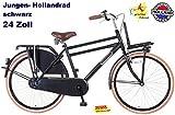 Plezier Jungen Hollandrad 24 Zoll DDB schwarz Transportrad