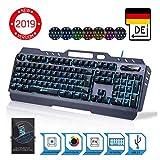 ⭐️ KLIM Lightning – NEU 2019 – Hybrid Halbmechanische Tastatur QWERTZ DEUTSCH + sieben verschiedene Farben + 5-Jahre Garantie – Metallstruktur – Gamer Gaming-Tastatur für Videospiele PC PS4 Xbox One