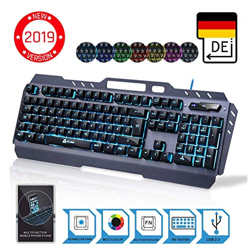 ⭐️KLIMTM Lightning - NEU 2019 - Hybrid Halbmechanische Tastatur QWERTZ DEUTSCH + sieben verschiedene Farben + 5-Jahre Garantie - Metallstruktur - Gamer Gaming-Tastatur für Videospiele PC PS4 Xbox One