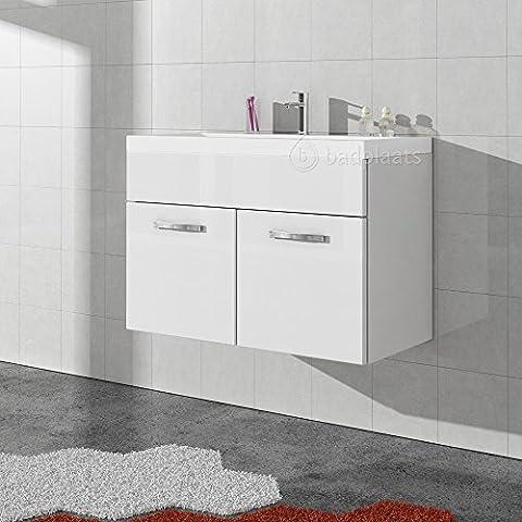 Badezimmer Badmöbel Paso 01 80 cm Waschbecken Hochglanz Weiß Fronten - Unterschrank Schrank Waschbecken Waschtisch