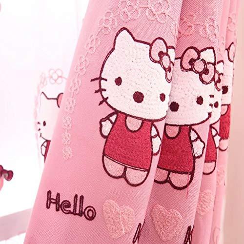 DYJNTRFG Kinderzimmer Prinzessin Schlafzimmer Vorhang Handtuch Bestickt Cartoon Vorhang 132cmx210cm (Breite x Höhe) 2 Paneele rosa