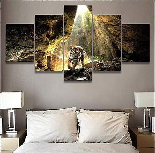 Uhgkt 5 Leinwanddrucke Leinwandbilder Wohnzimmer Wandbilder HD-Drucke Tierposter Tiger Cave Pictures Home Decorative Modular -