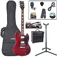 Encore E69CR Pack de Guitare électrique Cherry red