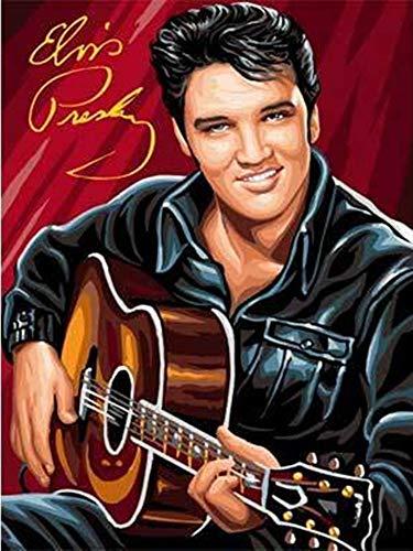 JIAER DIY Ölgemälde by Zahlen Handgemalte Leinwand Malerei Kit Superstar Elvis Presley Home Kunst Wanddekor(Mit Rahmen) 40x50cm (Elvis Presley-stoff)