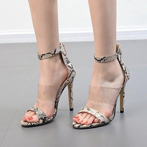 Aisun Damen Sexy Schlangenmuster offene Zehen Transparent Knöchelriemchen Stiletto Sandale Aprikosenfarben