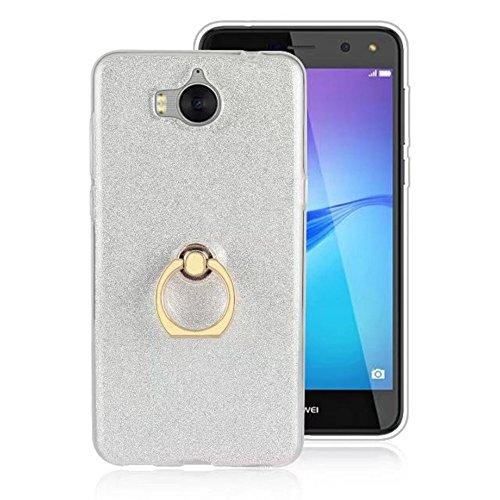 EKINHUI Case Cover Soft Flexible TPU Back Cover Case Shockproof Schutzhülle mit Bling Glitter Sparkles und Kickstand für Huawei Y5 2017 ( Color : Pink ) White