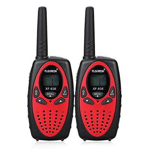 FLOUREON Ricetrasmittente PMR Radio Ricetrasmittenti 8 Canali Walkie Talkies per Bambini 2 Way Radio, Rosso