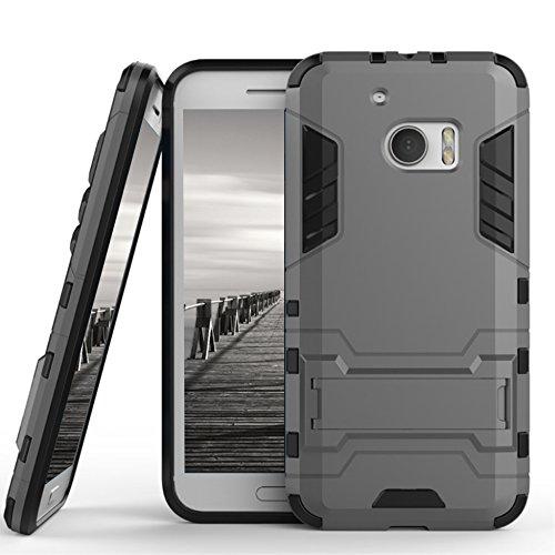 Schutz Hülle Case für HTC 10 / M10   Grau   Hard Cover mit Kickstand   Plastik Silikon Kunststoff TPU Schale Bumper Tasche Schutzhülle Handy Hülle