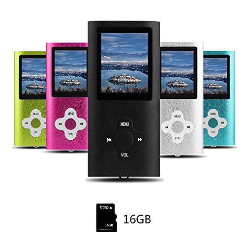 Preisvergleich Produktbild Btopllc MP3-Player, MP4 Spieler, Digital Music Player 16 GB interne Speicherkarte, Tragbarer und kompakter MP3 / MP4 Musik-Player, Media Player, Video Player, Video, Ebook, Bild Musik Spieler -schwarz