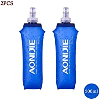 Docooler Plegable Deportes BPA Libre de PVC Suave Agua Corriente Eléctrica Suave Senderismo Flask Botella de Hidratación, 500ML(2PCS)