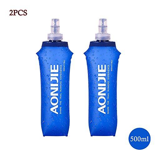Imagen de docooler plegable deportes bpa libre de pvc suave agua corriente eléctrica suave senderismo flask botella de hidratación, 500ml 2pcs